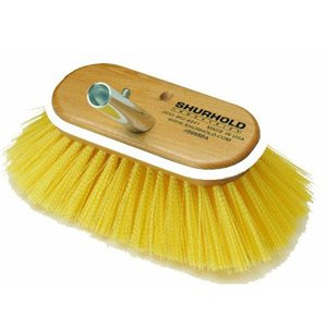 "Deck brush 6""  with medium yellow polystyrene bristles easily and positively locks into any Shurhold handle"