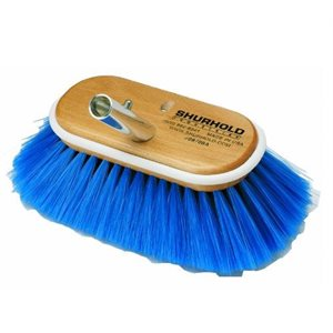 "Deck brush 6""  with extra soft blue nylon bristles easily and positively locks into any Shurhold handle"