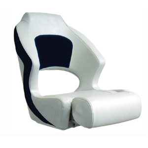 "Springfield deluxe sport flip up seat, white / navy 24"" H x 21.5"" W x 21.5"" D"