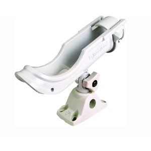 Adjustable fishing rod holder with bi-axis mount