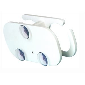 "2 drink holder white poly with suction cup mount 10"" x 3-5 / 8"" x 4-7 / 8"""