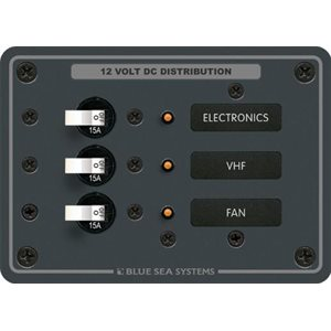 Blue Sea  Power Distribution Panel 3 Breakers 12V DC
