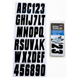 "Lettering kit for inflatable boat 3 1 / 4"" 4 sets of letters A-Z and numbers 0-9"