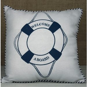 Cushion - Life Ring / Welcome Aboard, 30cm