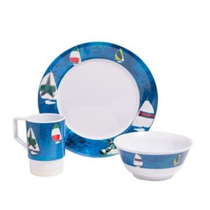 Spinnaker melamine non-skid dinnerware sets 12pc