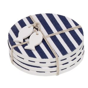 Blue and white striped round coaster set