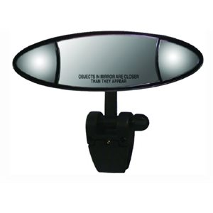 "Ellipse Marine Mirror  4"" x 11"" 3.25 x 6 inch convex stationary lens in the center and two adjustable 2.5 x 2.5 inch flat lenses on each side."