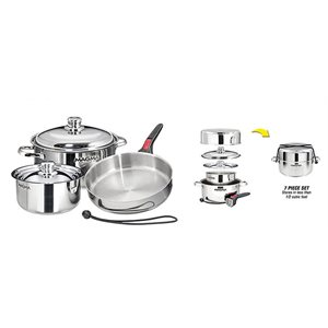 "Stainless Steel Gourmet 7 Piece ""Nesting"" Cookware Set"
