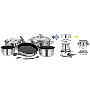 "Stainless Steel Gourmet 10 Piece ""Nesting"" Cookware Set with Teflon®  Select Non-Stick Coating"