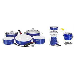 "10 Piece Gourmet ""Nesting"" Cobalt Blue Stainless Steel Cookware Set with Ceramica® Non-Stick"
