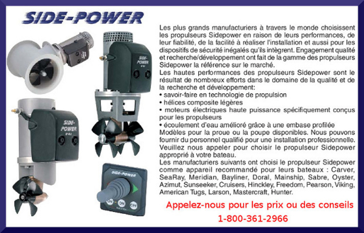 side power propulseurs laterals montreal,dorval,quebec canada, toronto