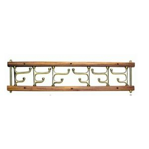 Folding hooks brass / teak 6 way