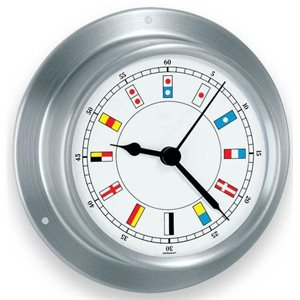 Sky clock stainless with  flags 3 1 / 2""