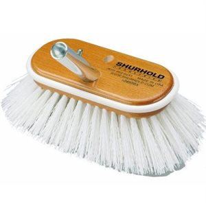 "Deck brush 6""  with extra stiff white polypropylene bristles easily and positively locks into any Shurhold handle"