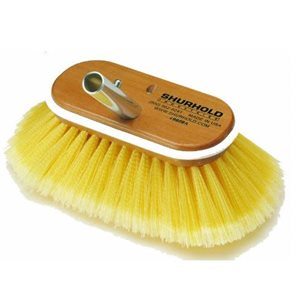 "Deck Brush 6""  with soft yellow polystyrene bristles easily and positively locks into any Shurhold handle"