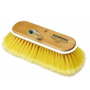 "Deck brush 10"" with soft yellow polystyrene bristles, easily and positively locks into any Shurhold handle"