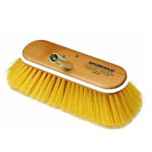 "Deck brush 10"" with medium yellow polystyrene bristles , easily and positively locks into any Shurhold handle"