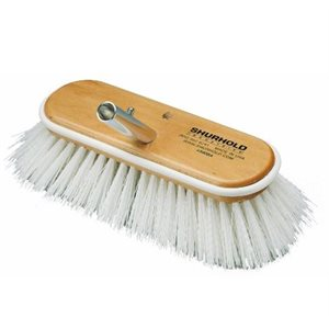 "Deck brush 10""  with extra stiff white polypropylene bristles, easily and positively locks into any Shurhold handle"