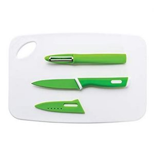 "Cutting board set with paring knife and peeler 11.7"" x 7.7"""