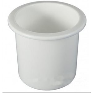 Drink holder plastic recessed white