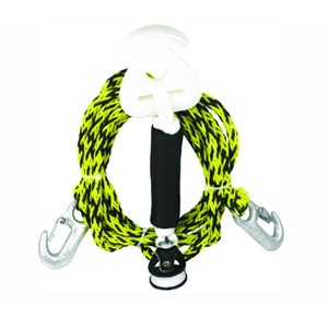 Self centering boat harness for pulling a skier, boarders and towables two riders