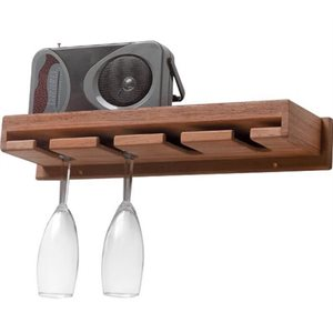 "Teak wine glass rack with shelf 17-1 / 2"" x 5"" x 2 / 12"""