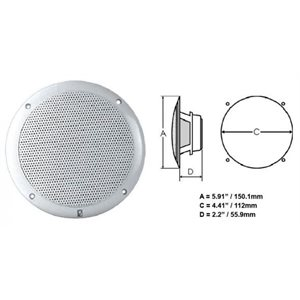 "Polyplanar 5"" 2 Way Coax Integral Grill Performance Speaker White"