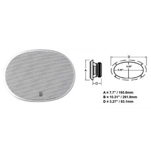 "Poly-planar 8"" x 10"" Platinum Oval Speaker  White"