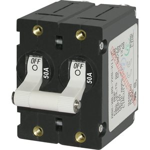 Blue Sea A-Series White Toggle Circuit Breaker - Double Pole 50A