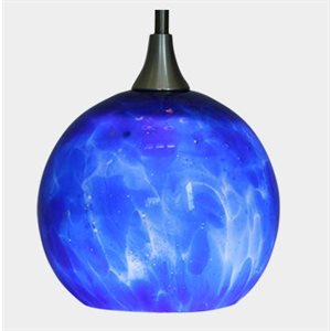 Hand Blown Glass LED Hanging Light Cobalt Blue
