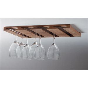 "Teak overhead wine glass rack 16-5 / 8"" x 11-3 / 4"" x 7 / 8"""