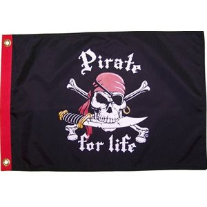 "Pirate flag 'Pirate for life' 12"" x 18"""