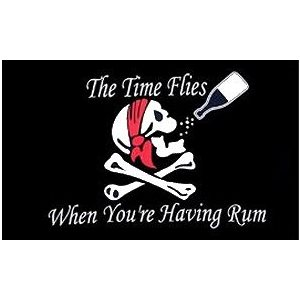 "Pirate flag 'Time flies when you're having rum' 18""x 20"""