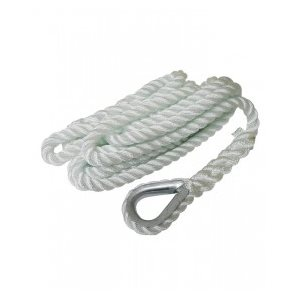 "Mooring line with galvanized thimble white 5 / 8"" X 25'"