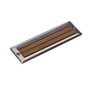 "Step plate teak / stainless 2-1 / 4"" x 7-11 / 16"""