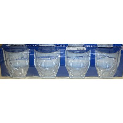 Glass water 360ml 4 / pk unbreakable
