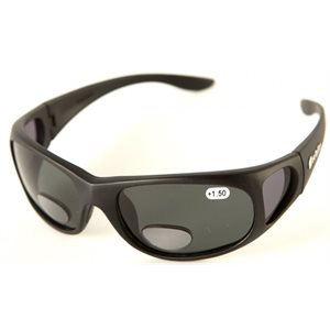 Barz Tofino sunglasses with non polarized readers +2.0 black frame  /  grey lens