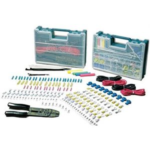 225 piece twin electrical repair kit with strip / crimp tool
