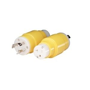 Adapter with a 30A 125V locking connector and a 20A 125V locking plug  (boat or RV)